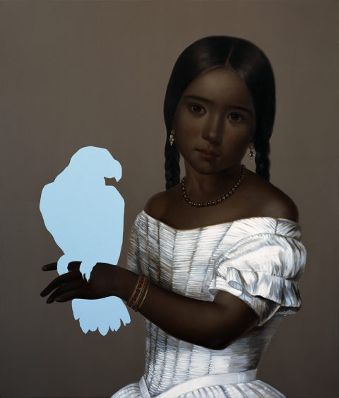 Girl with parrot